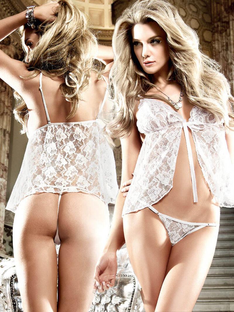 Baci Seduction White Lace Babydoll And G-string Set