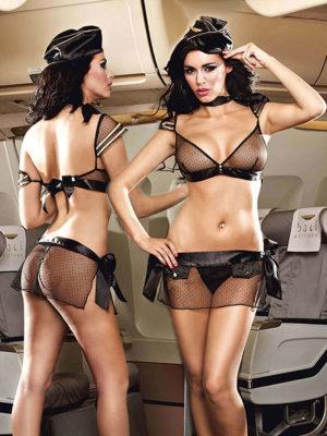 Sexy Airline Stewardess Black Underwear Adult Costume