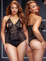 Baci Lingerie Peek-a-boo Sheer Mesh And Lace Bodysuit Teddy (plus Size)