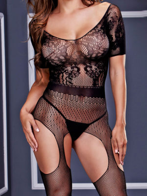Baci Lingerie Short Sleeve Crotchless Suspender Bodystocking