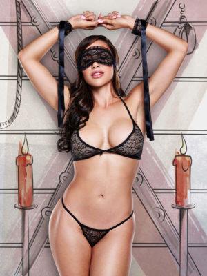 Baci Love Slave Black Lace Bra, Panty And Mask Set