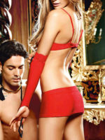 Baci Show Me Seduction Open Cup Bra, Skirt And Sleaves Set