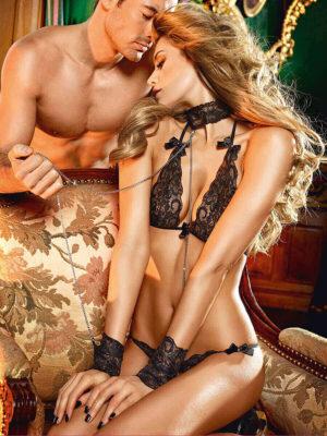 Baci Lace Bra, Open Crotch Panty And Collar Cuff Chain Set