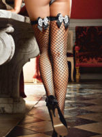 Sexy Costume Fencenet Thigh High Double-bow Stockings