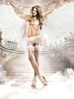 Baci Seduction Lace And Mesh Bra And Garter Skirt Set
