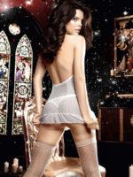Baci Seduction Mesh And Lace Garter Chemise Panty Set