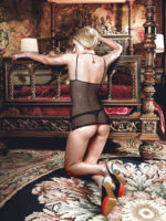 Baci Seduction Mesh Lace And Bows Halter Chemise Set