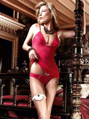 Baci Seduction Raspberry Mesh And Lace Chemise Panty Set