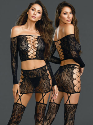 Dreamgirl Sexy Patterned Fishnet 2-piece Bodystocking