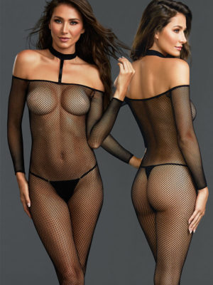 Dreamgirl Fishnet Off The Shoulder Open-crotch Bodystocking