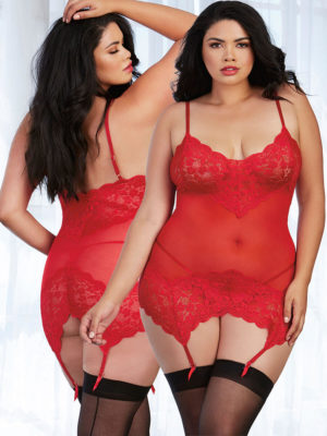 Dreamgirl Ruby Red Mesh And Lace Garter Slip & G-string Set (16+)