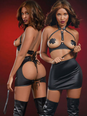 Dreamgirl Dominatrix Leather-look Open-cup Fantasy Chemise