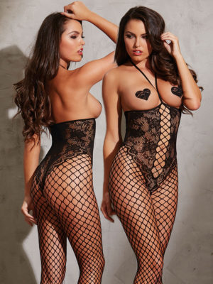Dreamgirl Open Cup Fencenet And Lace Teddy Bodystocking