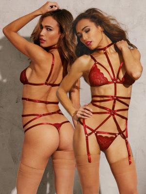 Dreamgirl Garnet Red Strappy Garter Bra And Thong Play Set