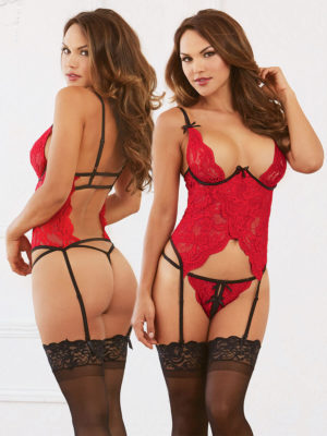 Dreamgirl Lipstick Red Lace Open Cup Bustier And G-string Set