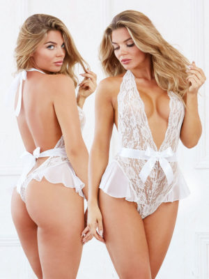 Dreamgirl White Lace And Satin Bow Plunge Front Teddy