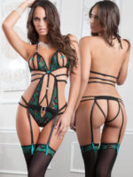 G-world Intimates Emerald Lace Peekaboo Teddy & Stockings Set