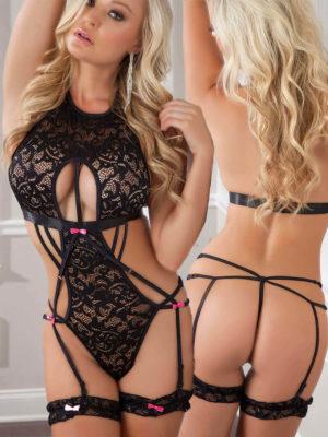 G-world Black & Pink High Neck Lace Body And Garter Set