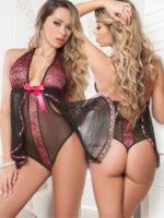 G-world Intimates Hot Pink Flyaway Sheer Babydoll & Teddy