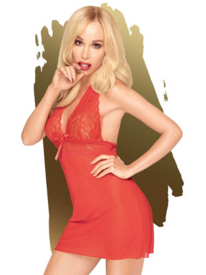 Penthouse Lingerie Sweet & Spicy Negligee And G-string Set (red)