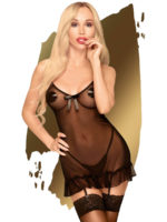 Penthouse Lingerie Guilty Icon Garter Chemise And Thong Set (black)