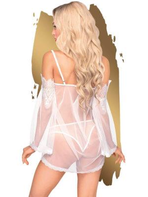 Penthouse Lingerie Lip Smacker Sheer Chemise And Panty Set (white)