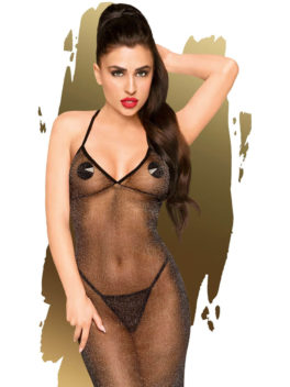 Penthouse Lingerie Love on Fire Long Chemise Gown and Thong Set (Black)
