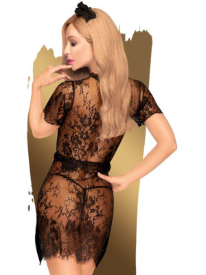 Penthouse Lingerie Poison Cookie Maids Dress And Thong Set (black)