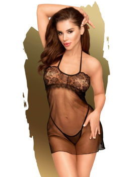 Penthouse Lingerie All Yours Sheer Negligee and G-String Set (Black)