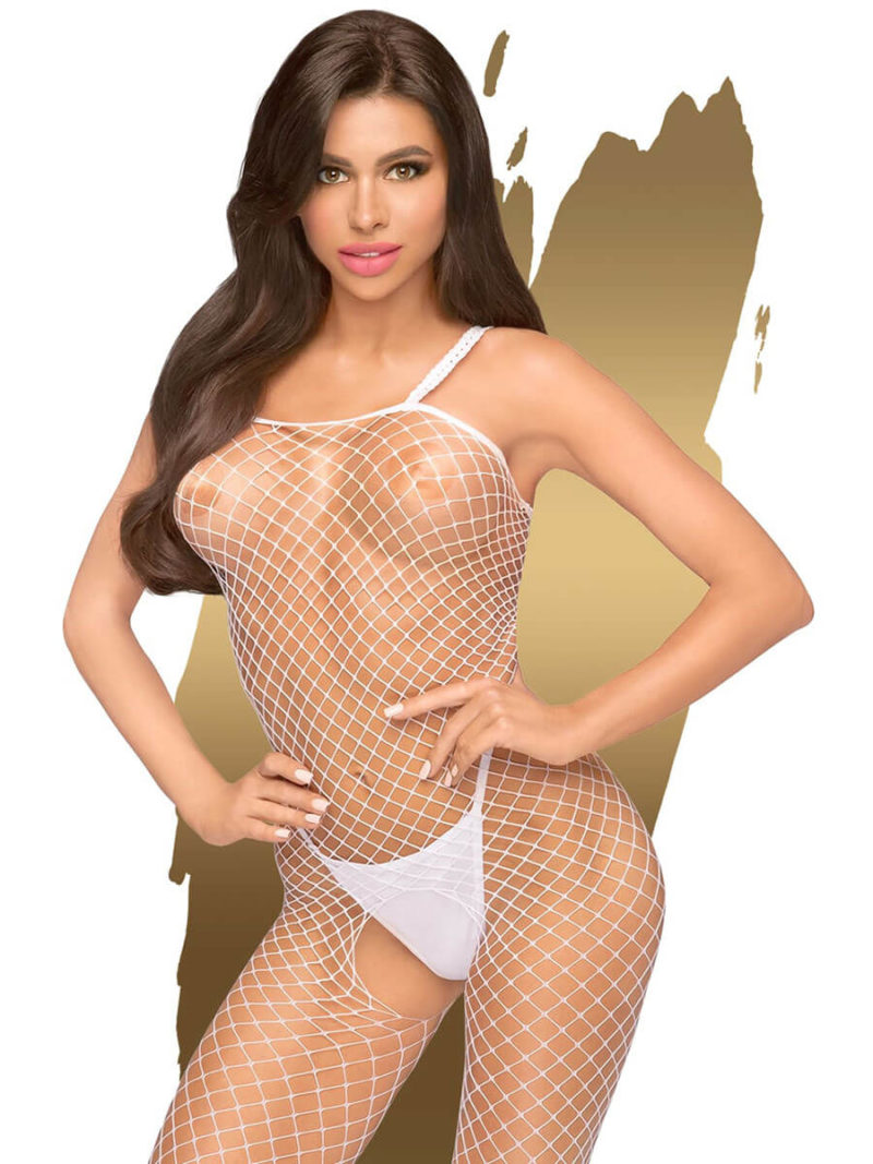 Penthouse Lingerie Body Search Fence Net Bodystocking (white)
