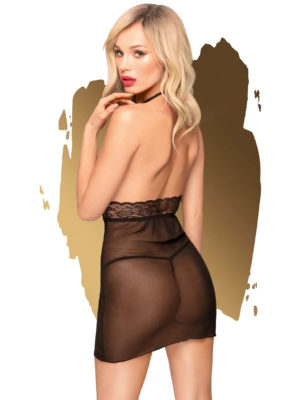 Penthouse Lingerie Sweet & Spicy Sheer Negligee And Thong Set (black)