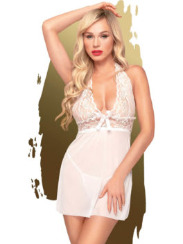 Penthouse Lingerie Sweet & Spicy Sheer Negligee and Thong Set (White)