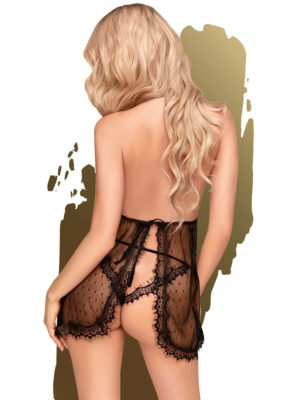 Penthouse Lingerie Libido Boost Lacey Babydoll And Thong Set (black)