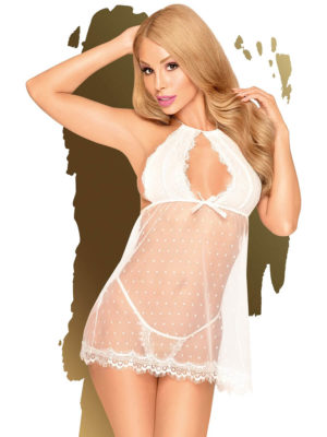 Penthouse Lingerie Libido Boost Lacey Babydoll And Thong Set (white)