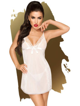 Penthouse Lingerie Casual Seduction Negligee and Thong Set (White)