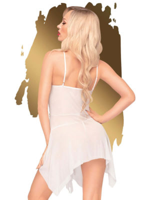 Penthouse Lingerie Sweet Beast Sheer Negligee And G-string Set (white)