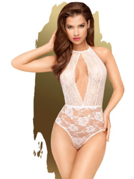 Penthouse Lingerie Toxic Powder Lace Patterned Teddy (White)