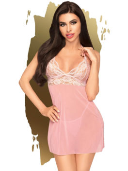 Penthouse Lingerie Bedtime Story Negligee and G-String Set (Rose/Pink)