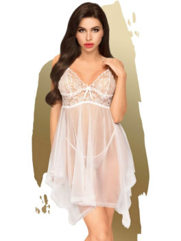 Penthouse Lingerie Naughty Doll Negligee and G-String Set (White)