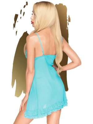 Penthouse Lingerie After Sunset Sheer Babydoll And Thong Set (turquoise)