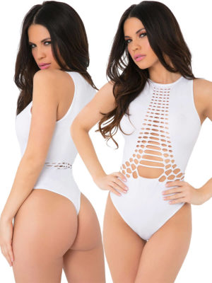 Pink Lipstick Lingerie Feminizer Seamless Sexy Bodysuit With Cutouts