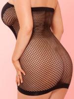 Pink Lipstick Lingerie Fishnet Revealing V-plunge Club Dress (plus Size)