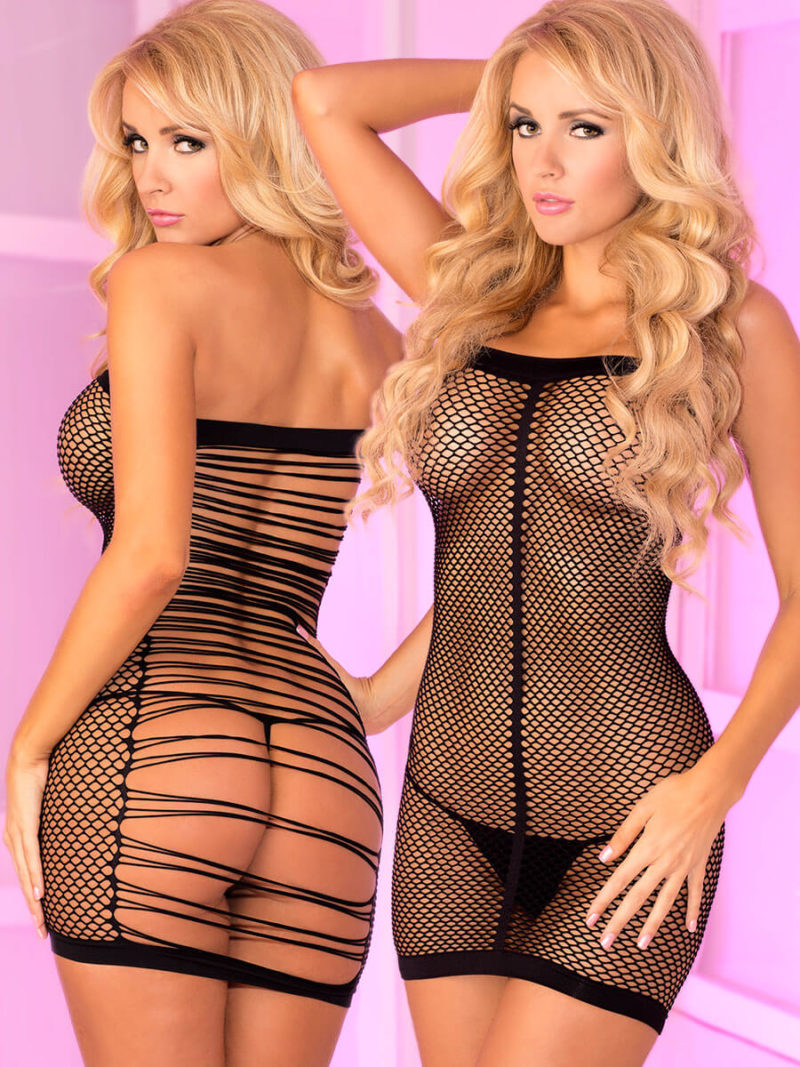 Pink Lipstick Lingerie Fishnet And String-back Revealing Micro Dress