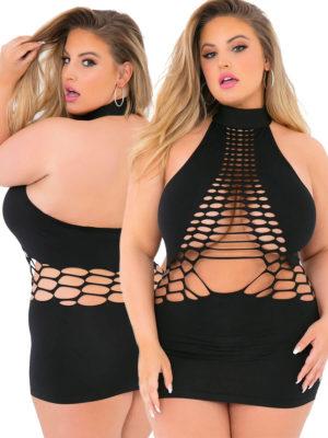 Pink Lipstick Lingerie Halter-neck Revealing Cutout Club Dress (plus Size)