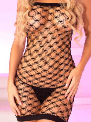 Pink Lipstick Lingerie Teaser Diamond Net Mini Dress