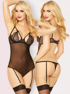 Seven 'til Midnight Lace Cup Sheer Teddy And Stockings Set