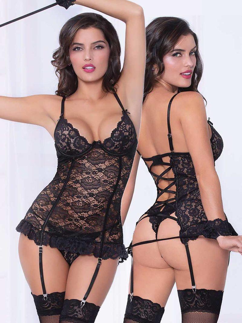 Seven 'til Midnight Black Lace Garter Chemise, Panty & Cuffs Set