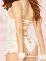 Seven 'til Midnight Lace Garter Chemise, Panty & Cuffs Set