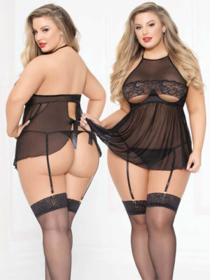 Seven 'til Midnight Sexy Open Cup Lace & Satin Babydoll & Thong Set (plus Size)