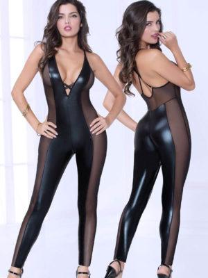 Seven 'til Midnight Wet Look Lamé & Sheer Mesh Panelled Long Bodysuit